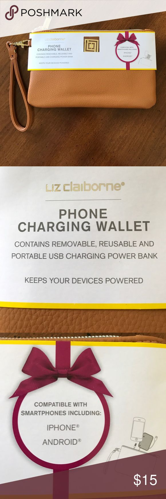NEW Liz Claiborne Phone Charging Wallet Please read all instructions to make sure yours is compatible ❤ Liz Claiborne Bags Wallets