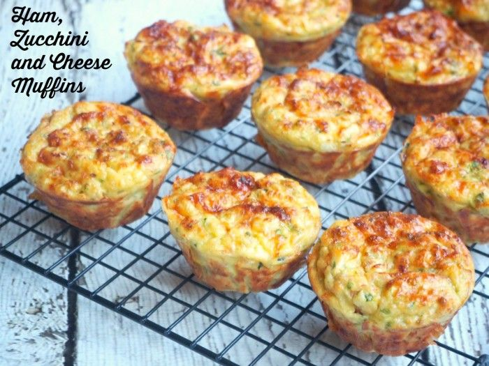 Ham, Zucchini and Cheese Muffins (exchange flour for coconut flour)
