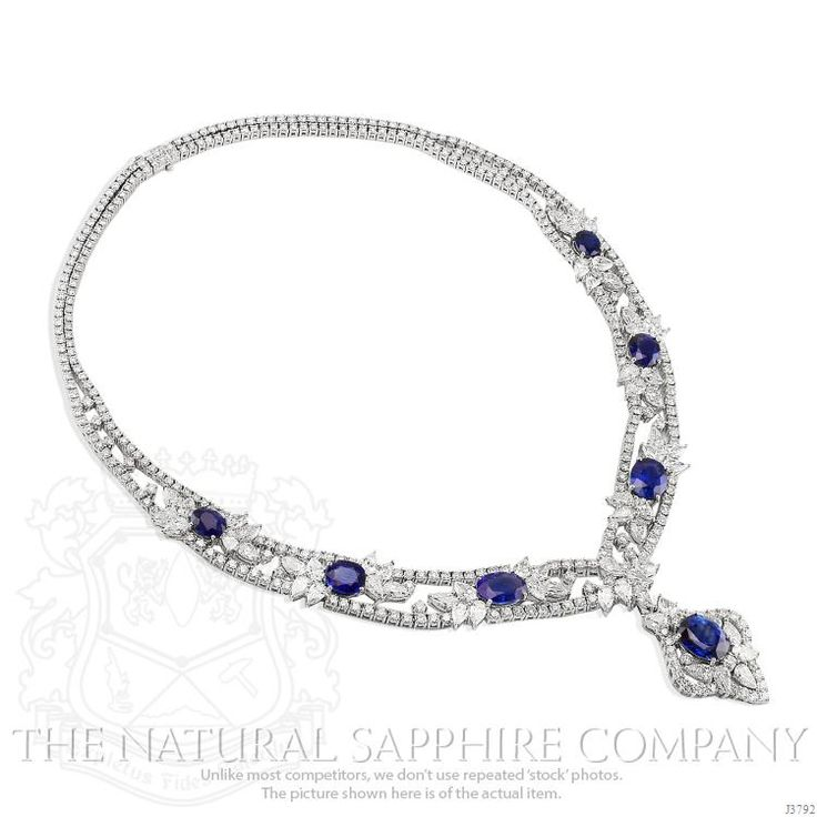 http://rubies.work/0747-blue-sapphire-earrings/ Blue Sapphire Necklace Image 3