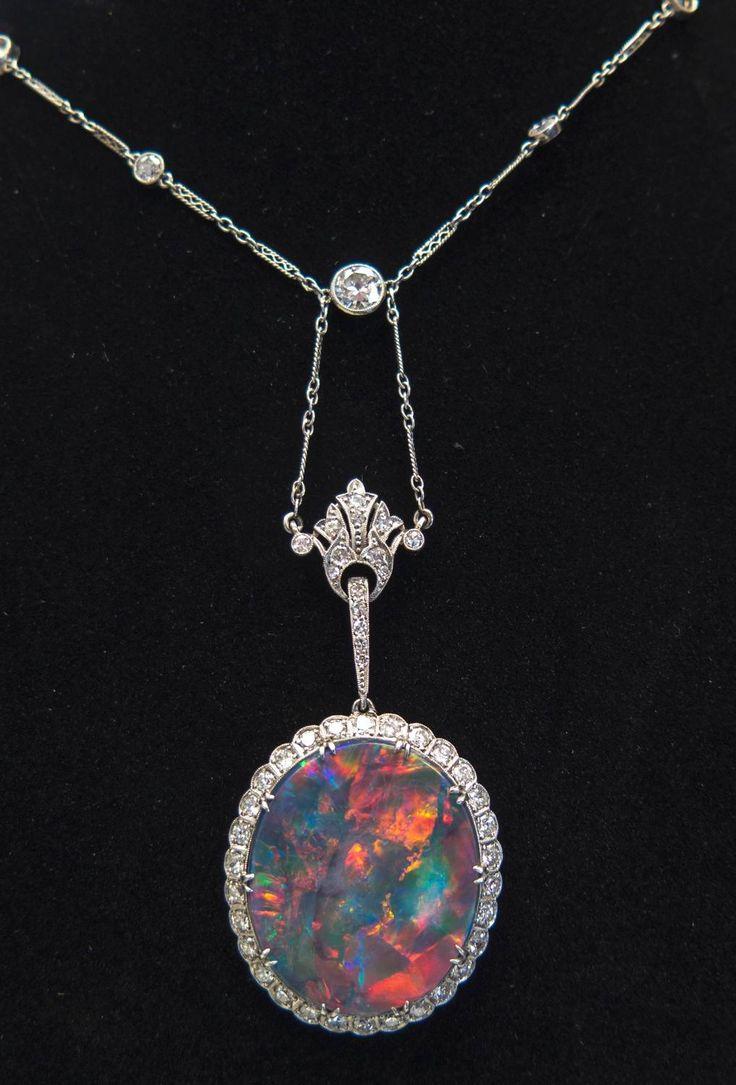 Extraordinary Edwardian Lightning Ridge Australian Black Opal Diamond Necklace