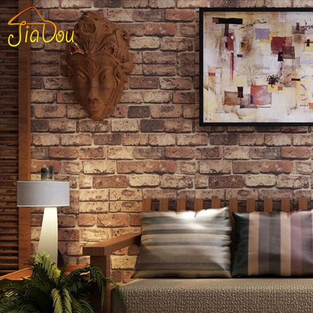 Brick Stone Wall Paper Chinese Rustic Vintage 3D PVC