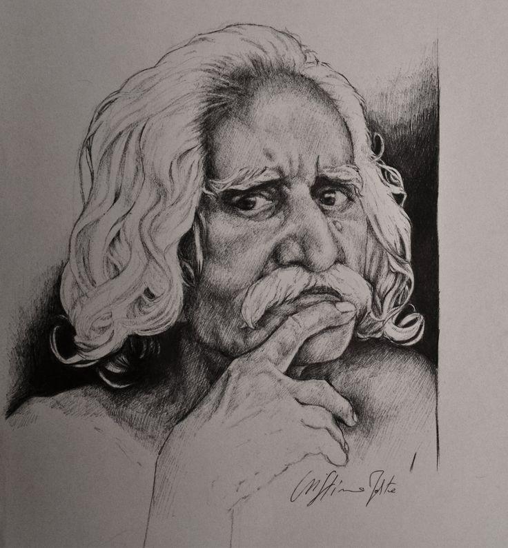 A serious old man, Pen, Cristina Forte on ArtStation at https://www.artstation.com/artwork/a-serious-old-man-pen