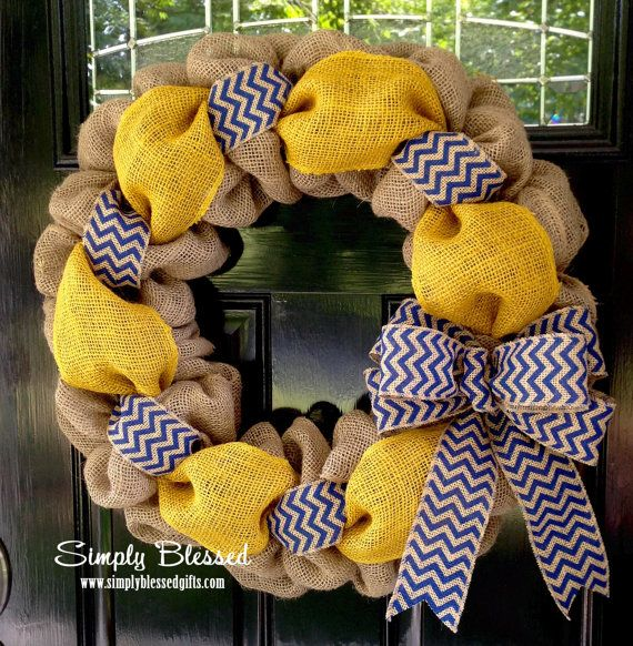 Yellow and Blue Chevron Burlap Wreath 22 inch for front door or accent - Michigan, ETSU,