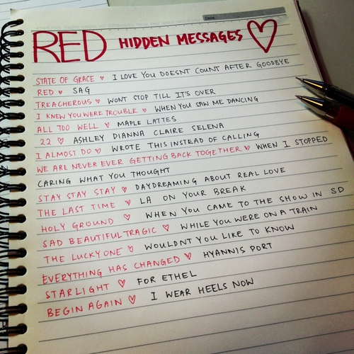 7. favourite hidden message: I like 'I wear heels now' the begin again one, and 'wouldn't you like to know' from the lucky one because I like sassy Taylor