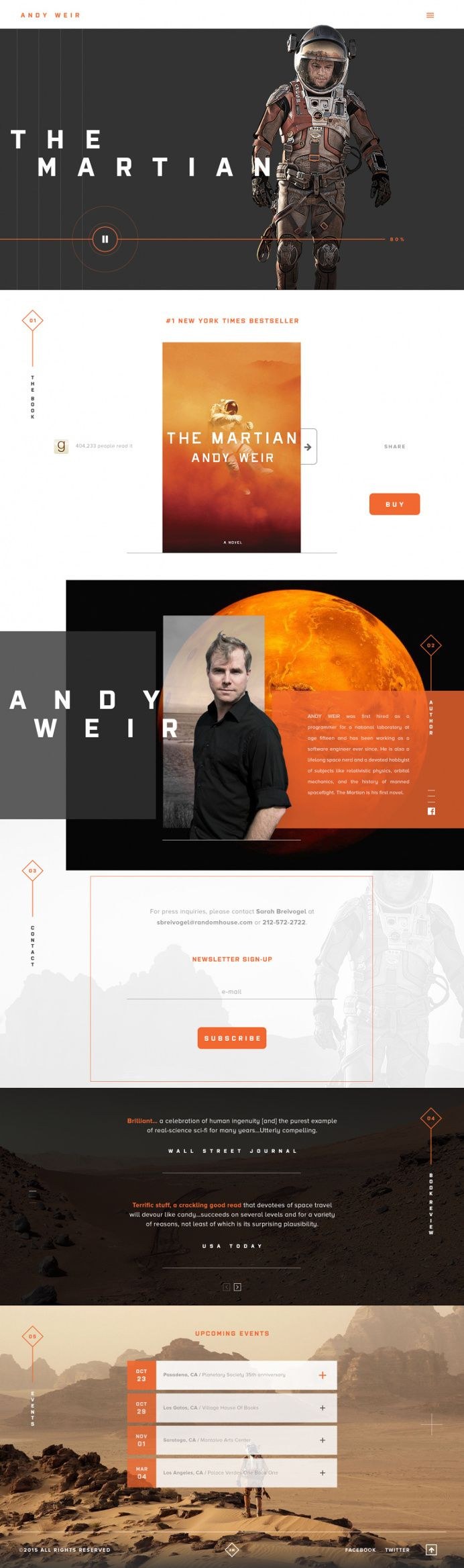 This is a very slick and cool website. I think that the Andy Weir name is difficult to read the way that it is kerned. I would have kerned the text closer together.