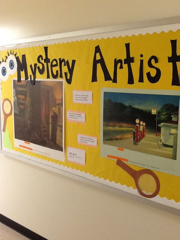 """Mystery Artist Bulletin board"". (Elementary) Every month there is a new mystery artist with a few of their works and clues about"