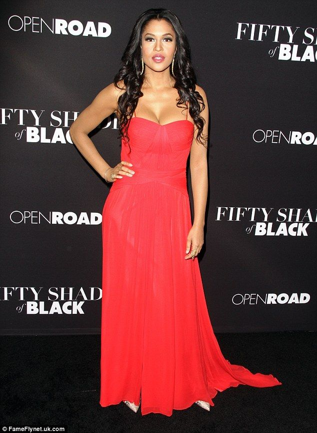 Bright move: Kali Hawk looked amazing in a bold red down and chic heels...