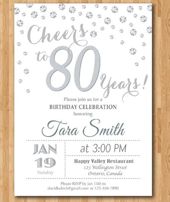 Image result for 80th birthday invitations