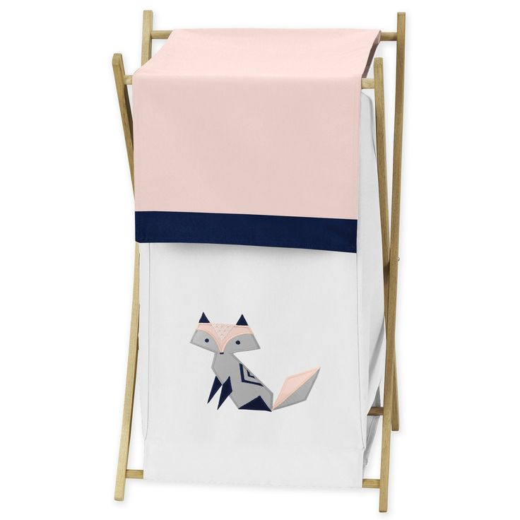 Sweet Jojo Designs Navy Blue, Pink, and Grey Woodland Fox Collection Laundry Hamper, Blush Pink/Grey/Navy And White