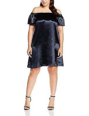22, Blue (mid Blue), New Look Curves Women's Satin Bardot Dress NEW