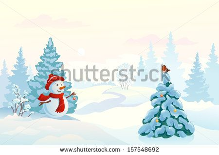 Vector pastel colored illustration of a cute snow man decorating a fir tree in a misty morning wood