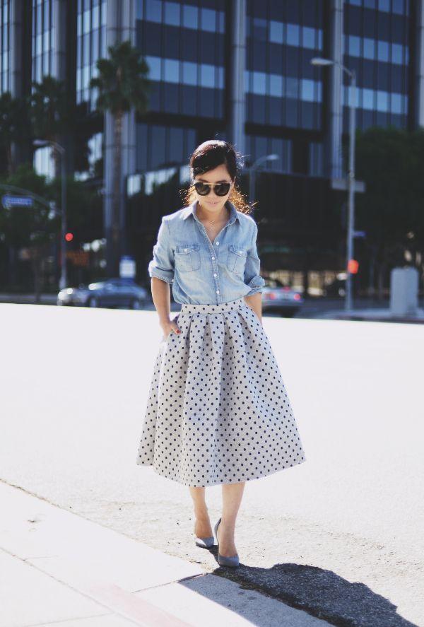 Polka Dot Midi Skirt and chambray
