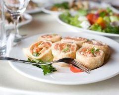 Roulés de crêpes au saumon fumé et fromage frais