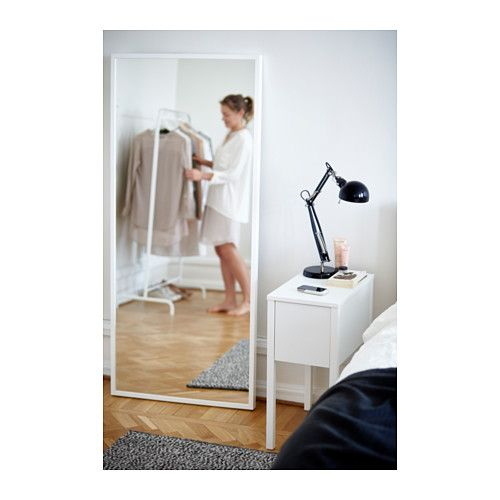 NORDLI Nightstand with wireless charging, white Mirror bathroom, Bedside tables and Met