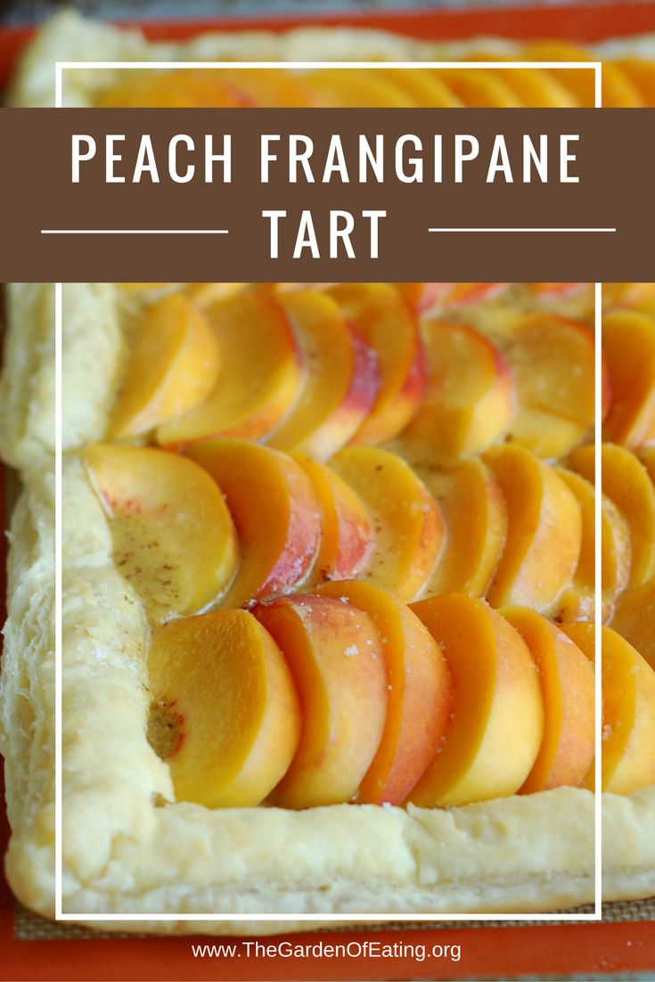 A delicious way to enjoy fresh peaches in a rich, almond frangipane. The puff pastry crust cuts the work time in half. Recipe here: http://bit.ly/2b1ZBfD from the Garden of Eating.