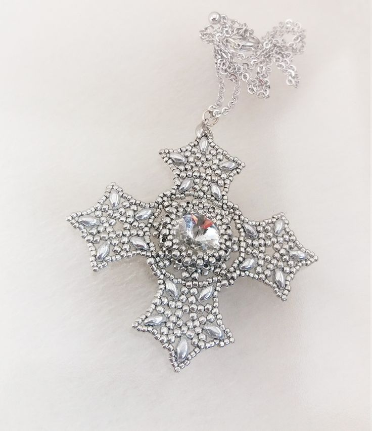 beaded jewelry - украшения из бисера - кулон Крест серебристый