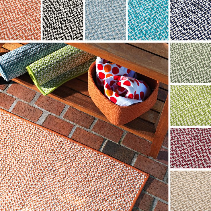 This is a durable outdoor rug that combines style and practicality. This houndstooth tweed rug is perfect for any indoor or outdoor area that sees a lot of foot traffic.