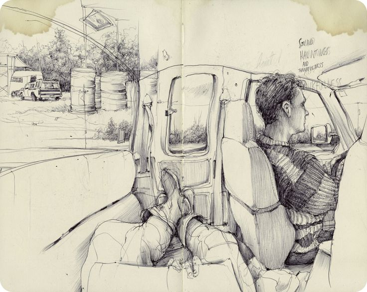 Pat Perry |  This drawing was done in the back of a car, including both the driver and artist's figures. The artist's legs are visible along with the driver. The perspective bends in fish eye way. What attracted me to this drawing was the inclusion of the artist's legs and a bit of the sketchbook within the composition.