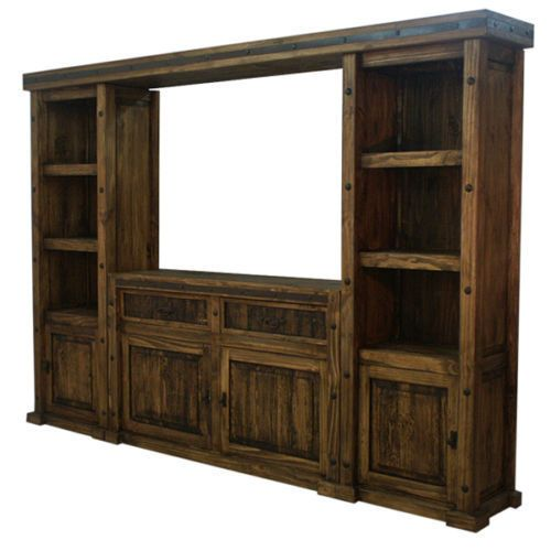 Rustic TV Stand Entertainment Center Wall Unit Drawers Doors Shelves Furniture