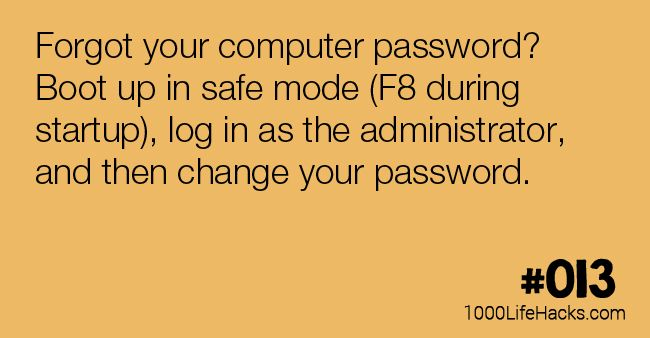 Forgot your computer password? Boot up in safe mode (F8 during startup), log in as the administrator, and then change your password.