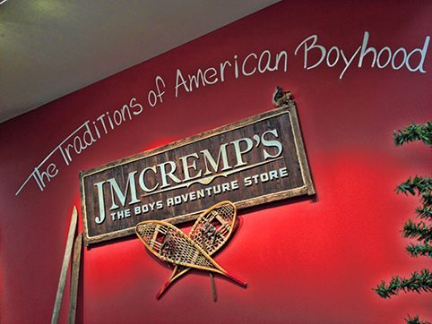 JM Cremps Store - Sign behind the checkout desk by Matt Schnell of Schnelldesigns.com. Check out his blog at http://www.redbarncreations.com/blog/2013/12/jm-cremps-store-now-at-the-mall-of-america/