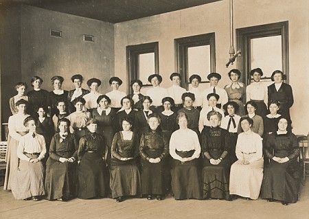 Ladies on staff at the Melbourne Tramway and Omnibus Company, June 1912. Discover more about the role of women in Melbourne tramways at http://www.hawthorntramdepot.org.au/papers/women.htm. Photograph courtesy State Library Victoria / J.G. Roberts.
