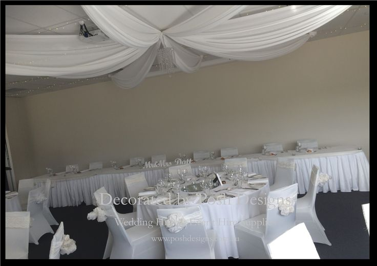 #whiteceilingdraping #roofswagging #wedding #theming available at #poshdesignsweddings - #sydneyweddings #southcoastweddings #wollongongweddings #canberraweddings #southernhighlandsweddings #campbelltownweddings #penrithweddings #bathurstweddings #illawarraweddings  All stock owned by Posh Designs Wedding & Event Supplies – lisa@poshdesigns.com.au or visit www.poshdesigns.com.au or www.facebook.com/.poshdesigns.com.au #Wedding #reception #decorations #Outdoor #ceremony decorations
