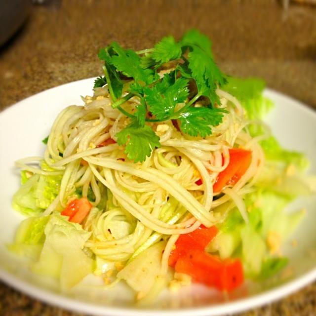 レシピとお料理がひらめくSnapDish - 53件のもぐもぐ - Som Tum ソムタム(青パパイヤのサラダ) by ai