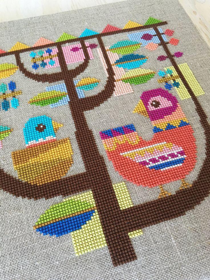Happinest modern birds cross stitch pattern PDF by SatsumaStreet