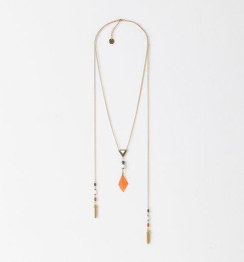 Collier plume et perles Femme vieil or - Promod