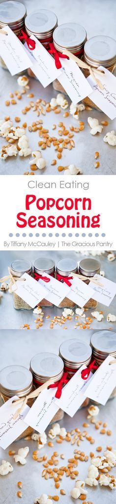 Clean Eating Recipes | Food Gifts | Holiday Gift Ideas | Homemade Gifts | Popcorn Seasoning Recipe ~ http://www.thegraciouspantry.com