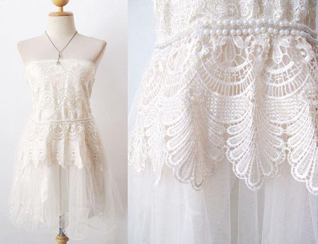 Grecian Boho Bride Ivory Vintage Short Wedding Dress