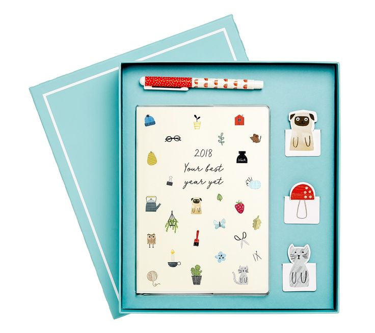 Valued at £30.00!Help someone special make every day of 2018 oh-so-sweet with this Sweet Diary Gift Pack. It includes an A5 Weekly Diary, Everyday Ballpoint Pen and a pack of Magnetic Page Markers, perfect for marking important pages in the Diary. The gorgeous hand-illustrated designs are sure to add a touch of sweetness to your recipient's year.