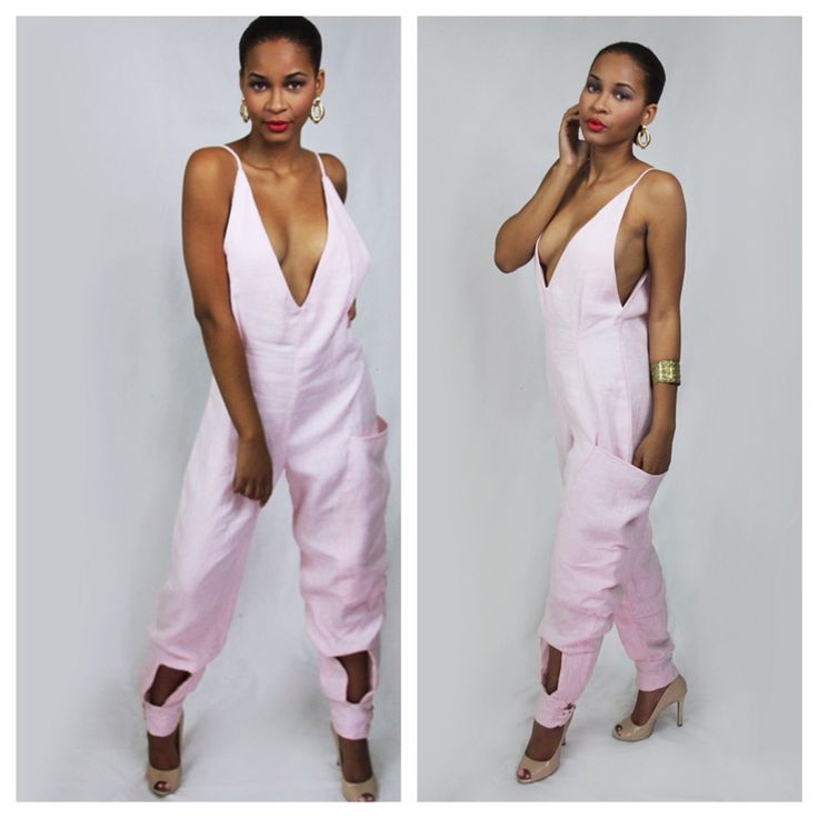 Kris Jackson Ss2016 collection 100% linen jumpsuit.
