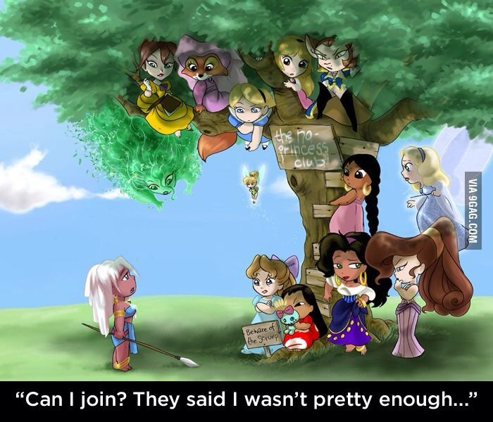 All Disney girls who aren't princesses...  Okay so we have Kida from Atlantis, Wendy from Peter Pan, Lilo from Lilo and Stitch, Esmerelda from The Hunchback of Notre Dame, Meg from Hercules, the Blue Fairy from Pinnochio, the girl from Jungle Book, the Captain from Treasure Planet, the girl from Black Cauldron (who I'm pretty dang sure WAS a princess), Alice from Alice in Wonderland, Maid Marrien from Robin Hood, Jane from Tarzan, and Mother Nature from Fantasia 2000.