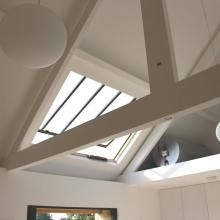 This project enjoyed maximum light by using both our bespoke skylights for the pitched roof and the Lumen Planus Accoya for the flat roof extension.