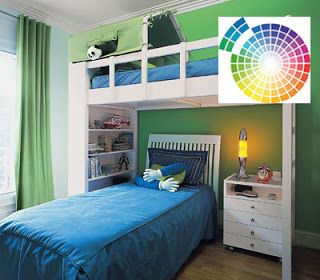 Dormitorio juvenil decorado siguiendo un esquema de colores análogos. Fuente: ernestoaragon.blogspot.com.es