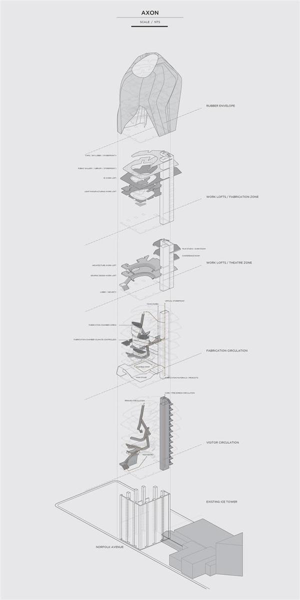 Alan Lu - Design Incubator - Axonometric - Architectural drawing / rendering