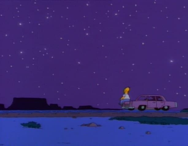 """Mother Simpson"" (Season 7, Episode 8)Homer discovers that his mother Mona faked her death. He has her in his life for a little while, but then it turns out she has to leave again. ""Don't forget me,"" he says as he waves her off into the sunset. She tells him he'll always be a part of her before she is driven away. And then Homer is motherless again. He sits on his car, staring into the distance where she once was. It's a moment that raises lumps in throats every time."