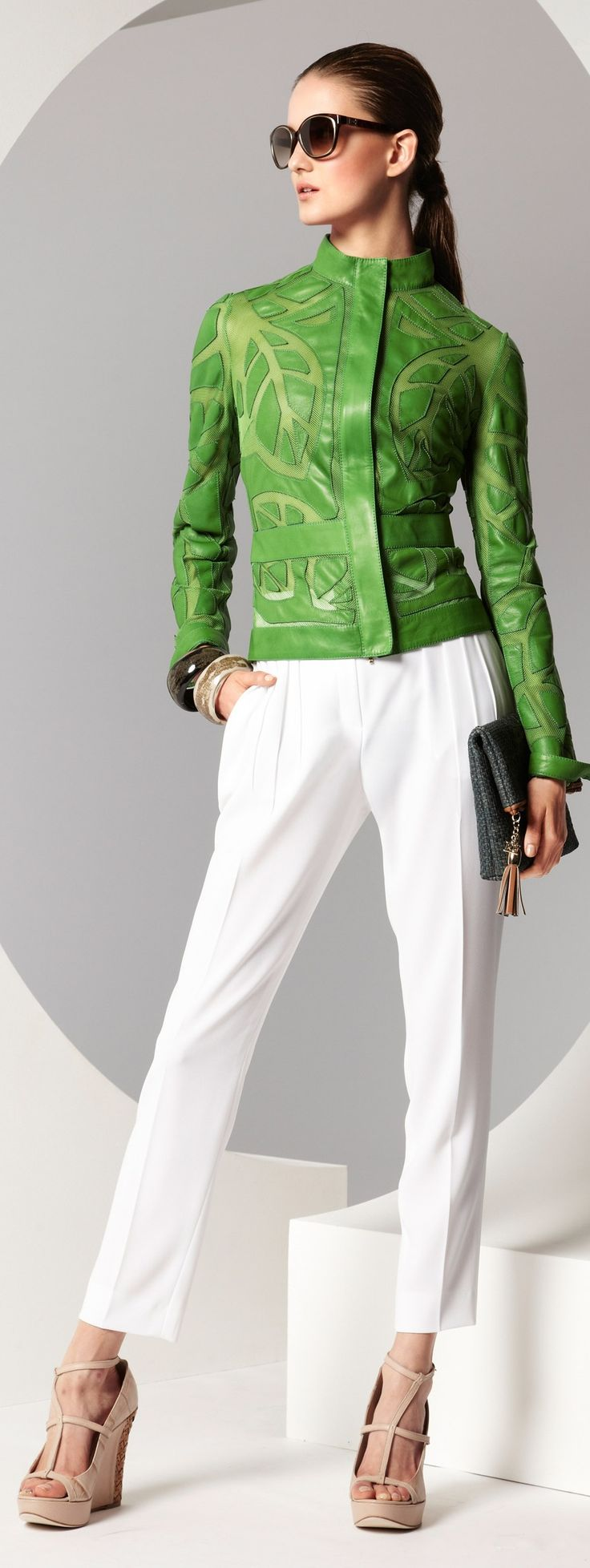 Escada 2013 ~  leaf patterened and green... this is SO me, but need it styled differently.  <3 it