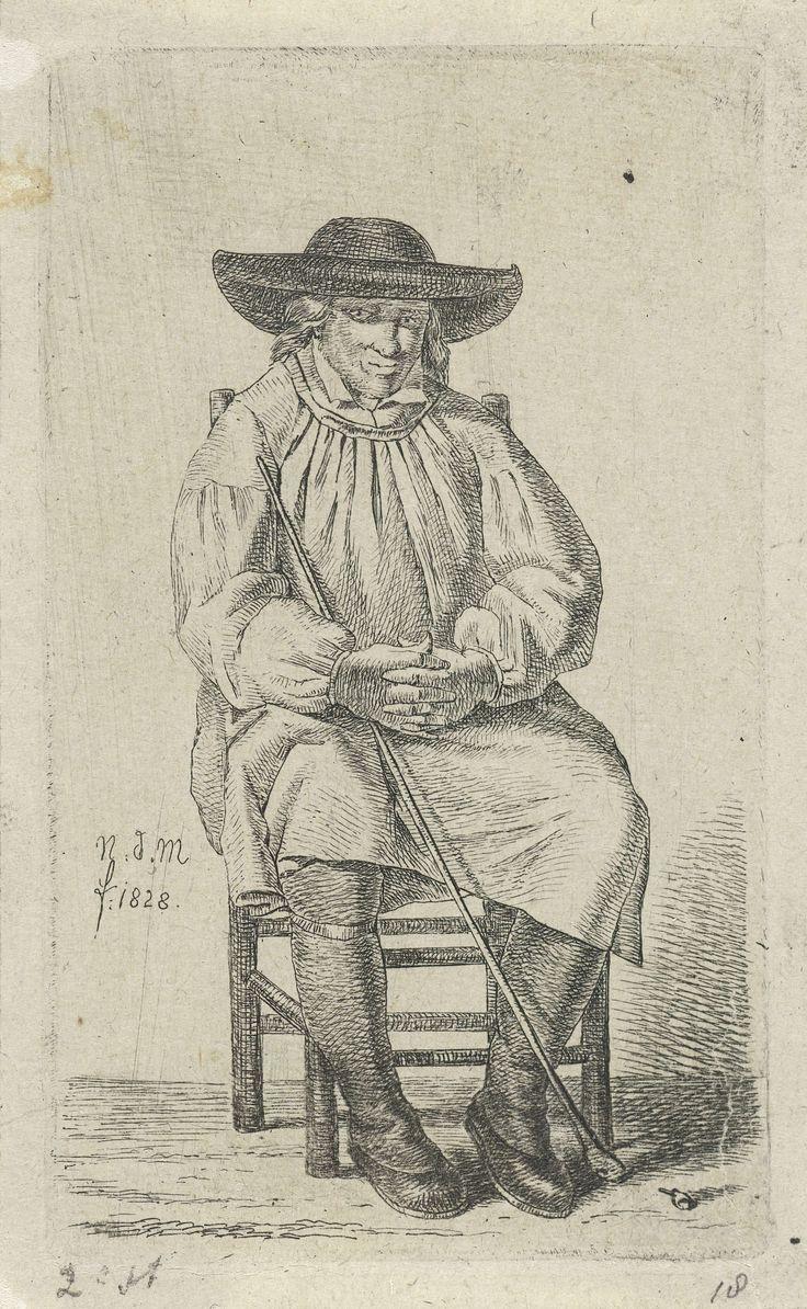 Anthonie Willem Hendrik Nolthenius de Man | Zittende man met stok, Anthonie Willem Hendrik Nolthenius de Man, 1828 | Zittende man met stok, voor hem op de grond een klein pijpenkopje. Prent uit een serie van twaalf prenten met studies van menselijke figuren.
