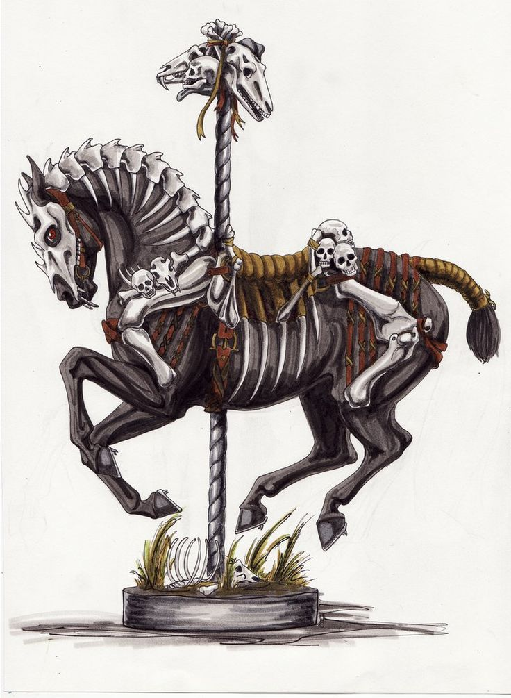 """Halloween Carousel Horseby ~lunatteo  Traditional Art / Drawings / Illustration / Conceptual	©2010-2012 ~lunatteo""    http://lunatteo.deviantart.com/art/Halloween-Carousel-Horse-184476987#     http://snipurl.com/25t6ffn"