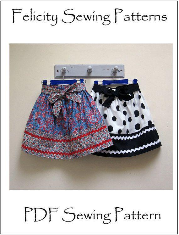 Girls skirt sewing pattern KITTY SKIRT sizes 2 par FelicityPatterns
