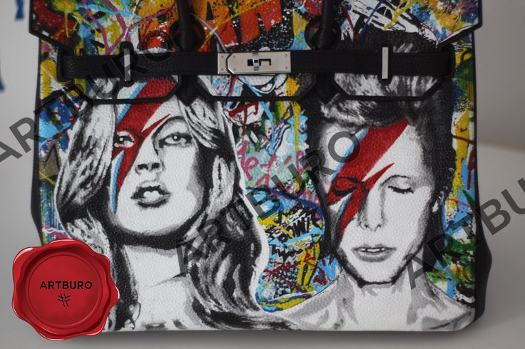 "Hermes Black Togo Birkin 30 cm ARTBURO Personalization & MrBrainwash ""Kate Moss and David Bowie"" and graffiti ""Life is Beautiful""  #artburopersonalization #artburo #artburocollection  #hermes #theiconbag  #artburogallery #artbuross18  #exceptionalpieces  #артбюро #handpaintedhermes #artburoalisakovtunova #customhermes #hermes2018 #fashionista #luxury #alisakovtunova #mrbrainwash #davidbowie #hermesexceptional #customizedhermes #katemoss #artburodesign"