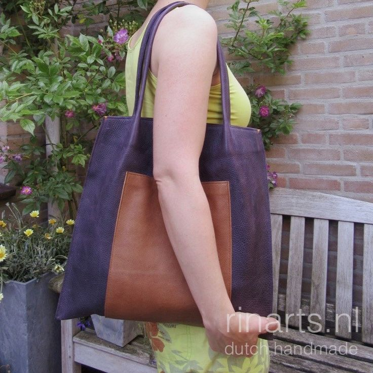 Tote bag Rinarts in deep purple and cognac leather
