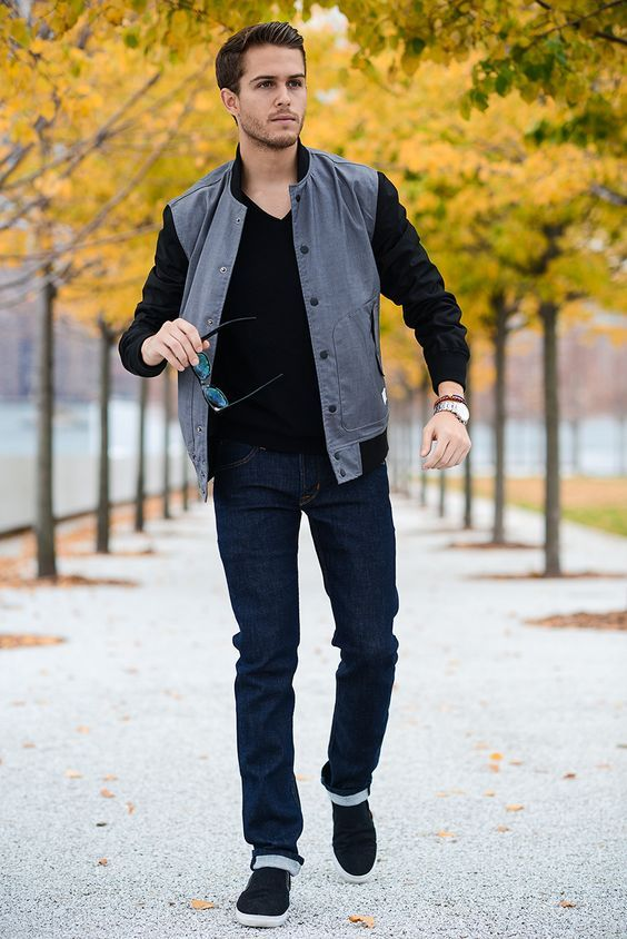 Off-Business ocassion - Grey Bomber Jacket, Black V-neck Sweater, Navy Jeans and a pair of Black Slip-on Sneakers