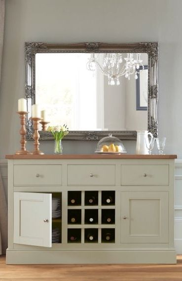 Living room GOALS with our gorgeous Shaftesbury Sage Painted Sideboard and mirror combo!