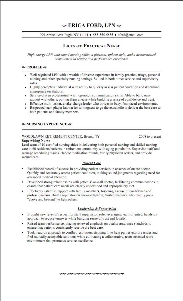 LPN Resume Writing Guide and Sample | Sample Resumes