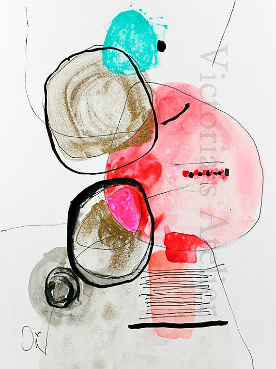 """Contemporary Modern Art - an Original Abstract Painting on watercolor paper 9"""" x 12.3"""".    by VictoriAttelier"""