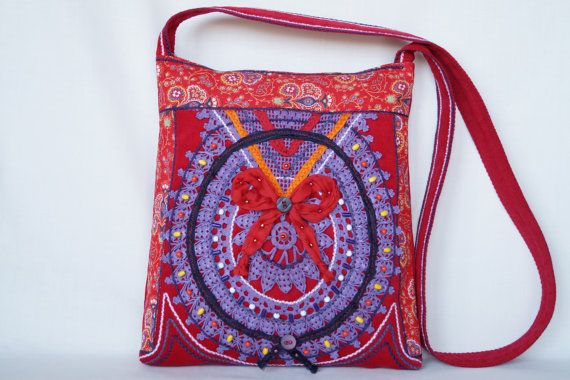 Violet red crocheted lace bag medium size bag by bokrisztina